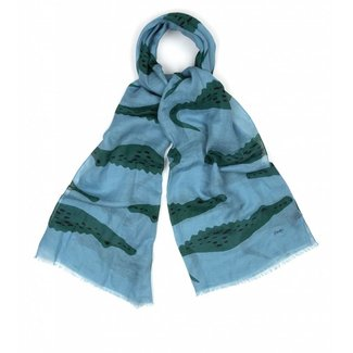 Drake's Scarf Light Blue Crocodile Cotton Linen