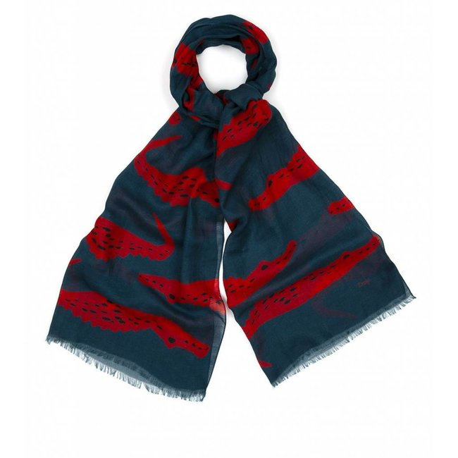 Drake's Scarf Blue Crocodile Cotton Linen