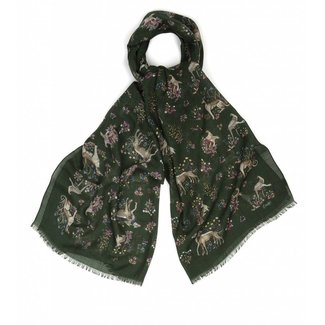 Drake's Scarf Green Dog Print Wool and Silk
