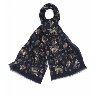 Drake's Scarf Navy Dog Print Wool and Silk