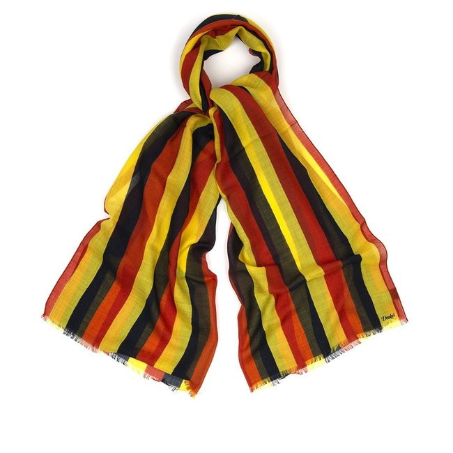 Drake's Scarf Red Yellow Stipe Wool and Silk
