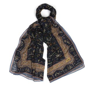 Drake's Scarf Navy Mughal Printed Cotton and Cashmere