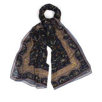Drake's Schal Marine Mongolische Print Baumwolle und Kaschmir