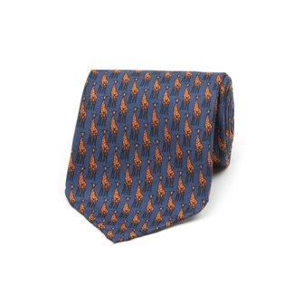 Drake's Tie Navy Giraffe Print Silk