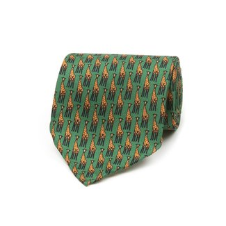 Drake's Tie Green Giraffe Print Silk