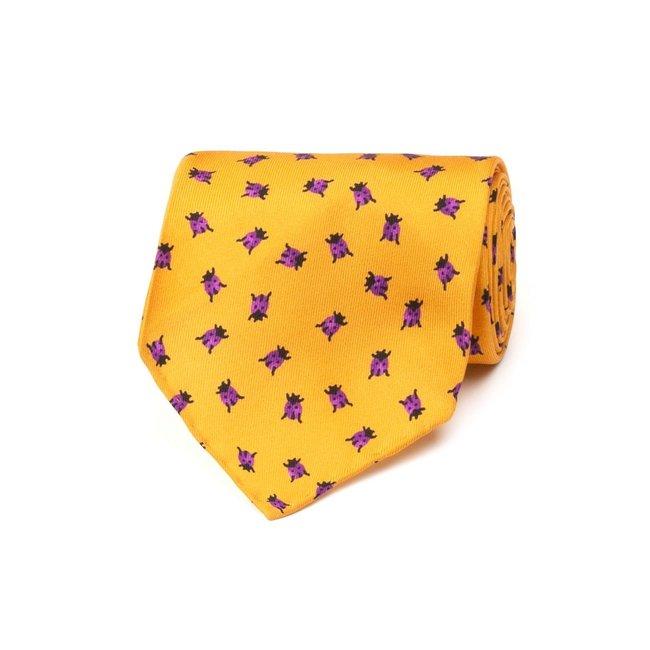 Drake's Tie Orange Ladybird Print Silk