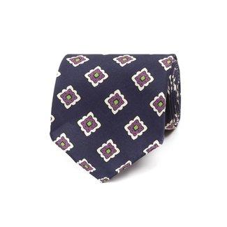 Drake's Krawatte Blau Fliesen Motiv Seide