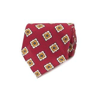 Drake's Krawatte Rot Fliesen Motiv Seide