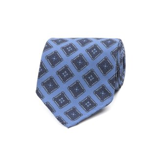 Drake's Tie Light Blue Tile Print Silk