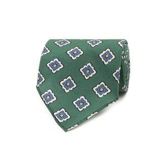 Drake's Tie Green Tile Print Silk