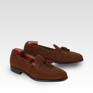 Carlos Santos Tassel Loafer Polo Brown Suède