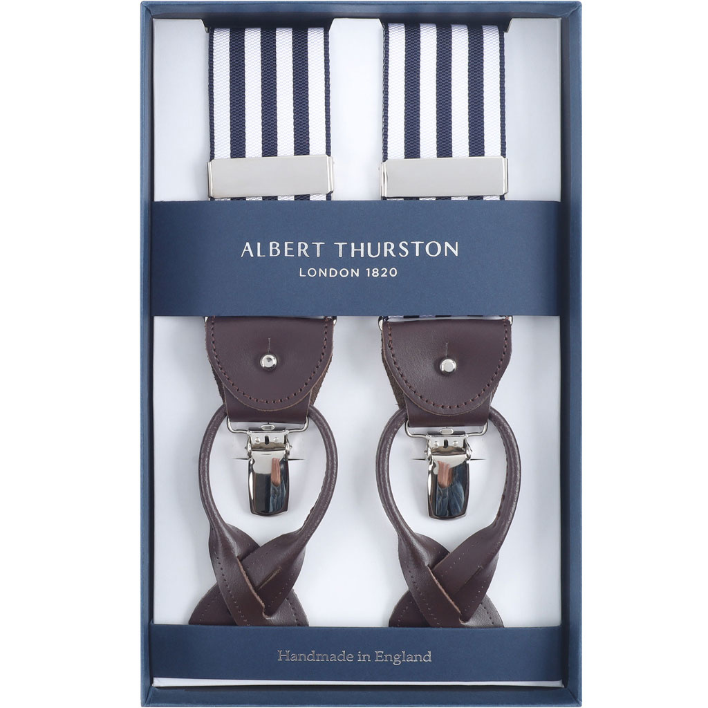 ALBERT THURSTON RIGID BRACES NAVY /& WHITE STRIPED WITH LEATHER ENDS