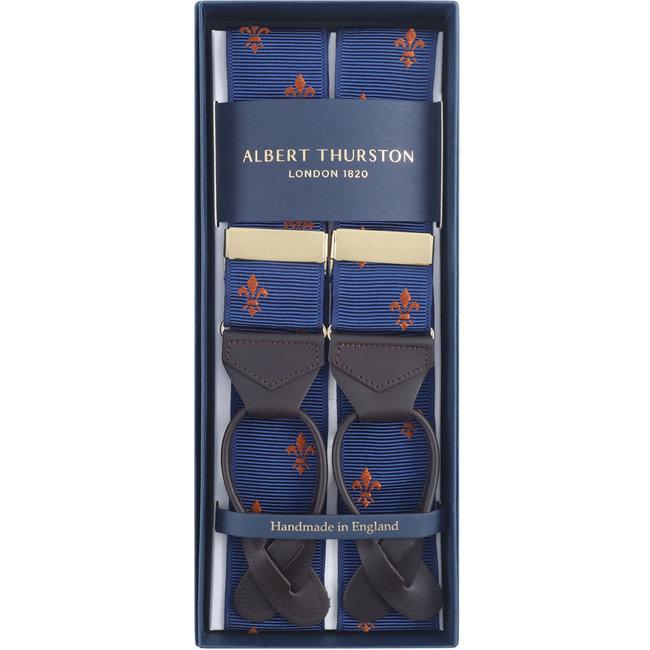 Albert Thurston Braces Navy Gold French Lily