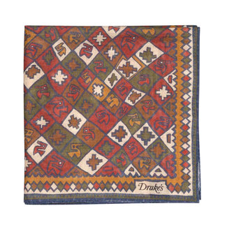 Drake's Pocket Square Red and Brown Patchwork Print Wool and Silk
