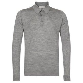 John Smedley Dorset Polo Shirt Silver Merino Wool