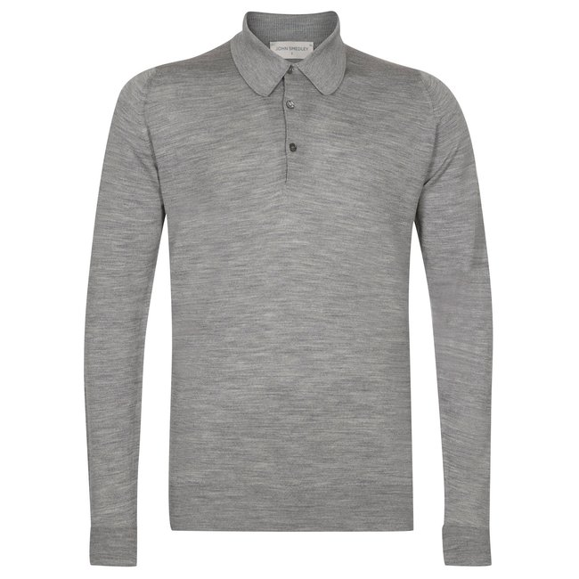 John Smedley Dorset Polo Shirt Zilvergrijs Merino Wol