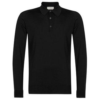 John Smedley Dorset Polo Shirt Black Merino Wool