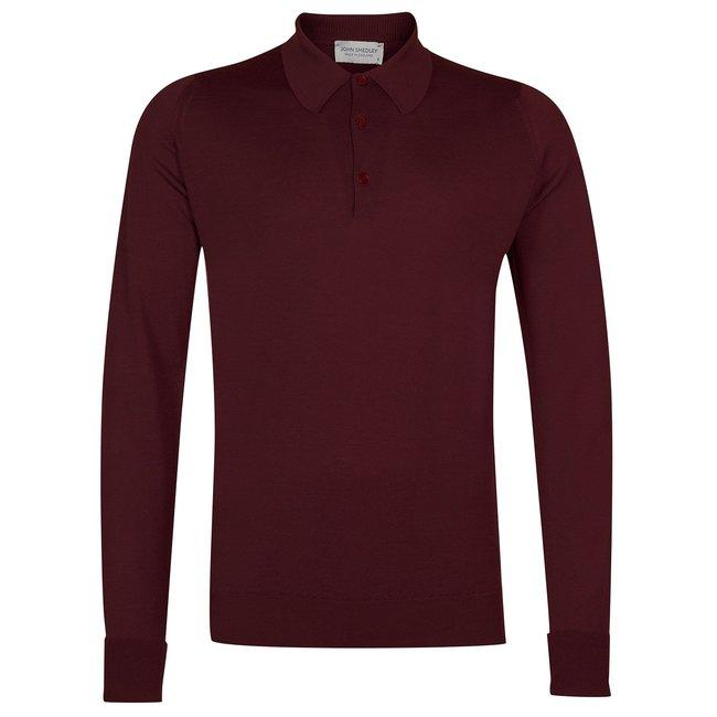 John Smedley Dorset Polo Shirt Bordeaux Merino Wool