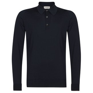 John Smedley Dorset Polo Shirt Midnight Merino Wool