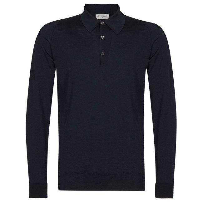 John Smedley Dorset Polo Shirt Donkerblauw Merino Wol