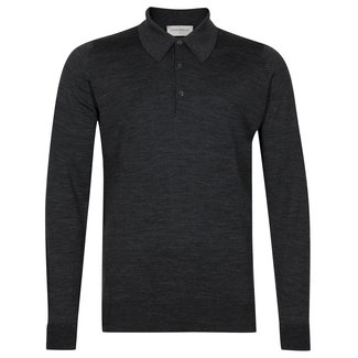 John Smedley Dorset Polo Shirt Charcoal Merino Wool
