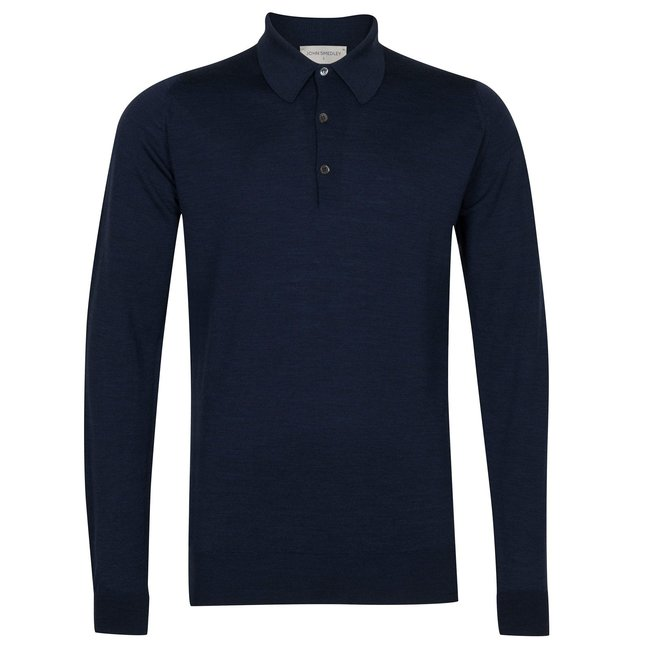 John Smedley Dorset Polo Shirt Indigo Merino Wool