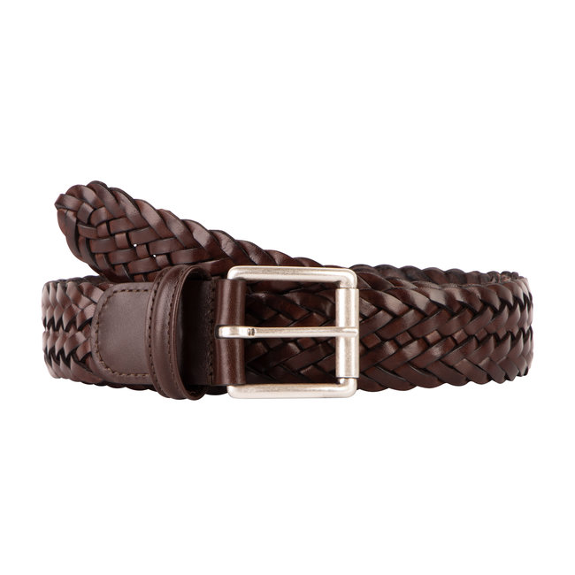 Anderson's Braided Leather Belt Dark Brown