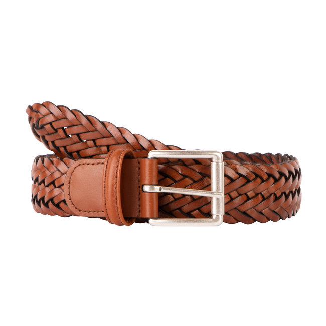 Anderson's Braided Leather Belt Medium Brown