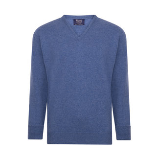 William Lockie Sweater Clyde Blue Rob Lambswool V-neck