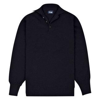 Drake's Long Sleeve Polo Shirt Donkerblauw Lamswol