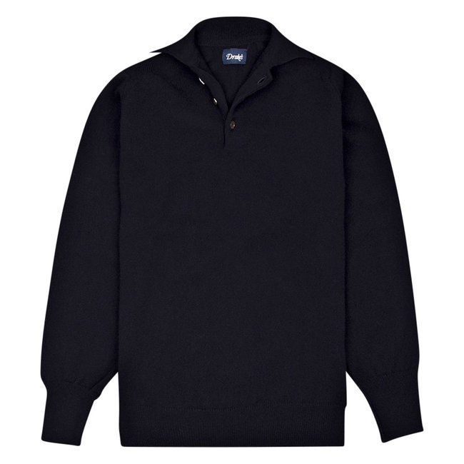 Drake's Long Sleeve Polo Shirt Navy Lambswool