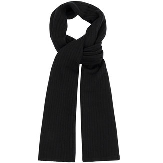William Lockie Plain Rib Geelong Wool Scarf Black