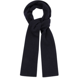 William Lockie Plain Rib Geelong Wool Scarf Navy