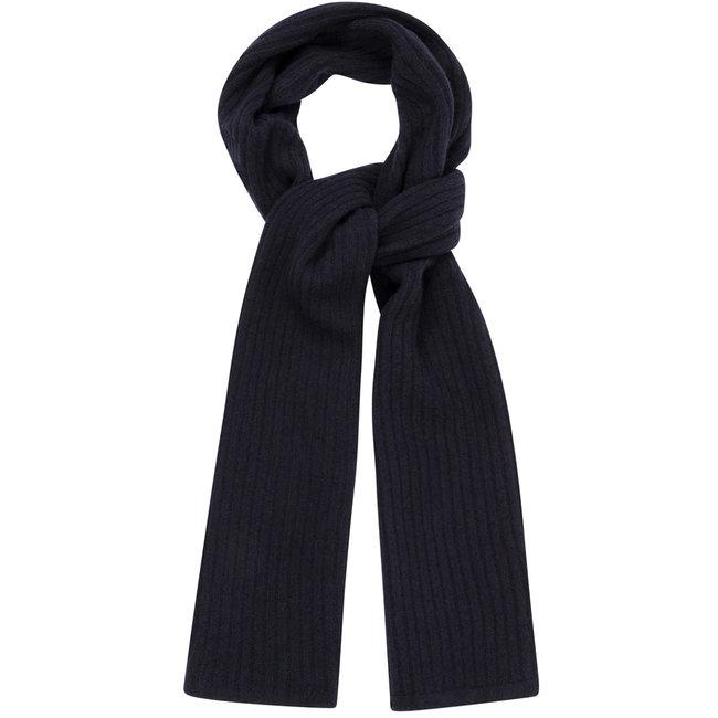 William Lockie Plain Rib Geelong Wool Scarf Navy