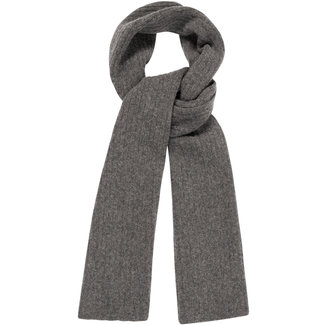William Lockie Plain Rib Geelong Wool Scarf Charcoal