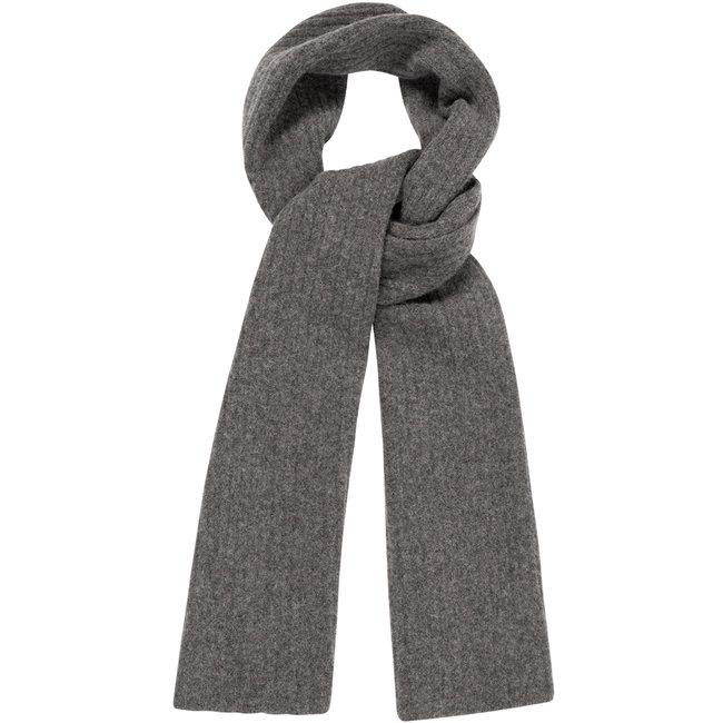 William Lockie Plain Rib Geelong Wool Scarf Charcoal