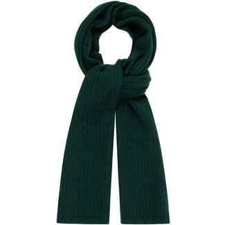 William Lockie Plain Rib Geelong Wool Scarf Dark Green