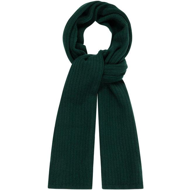 William Lockie Plain Rib Geelong Wool Scarf Dark Green