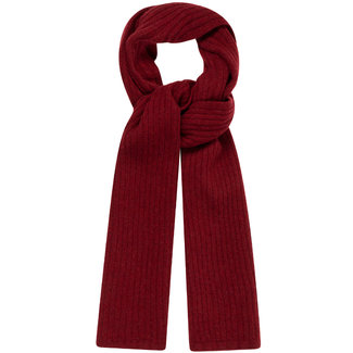 William Lockie Plain Rib Geelong Wool Scarf Burgundy