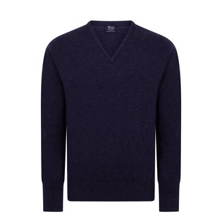 William Lockie Pullover Astra Blau Rob Lammwolle V-Ausschnitt