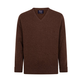 William Lockie Pullover Mokka Braun Rob Lammwolle V-Ausschnitt