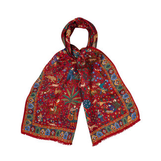 Drake's Scarf Red Mughal Hunter Print Wool and Silk