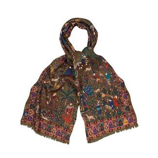 Drake's Scarf Green Mughal Hunter Print Wool and Silk