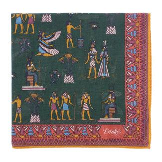 Drake's Pochet Groen Egyptische Print