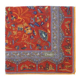 Drake's Pocket Square Rust Mughal Print