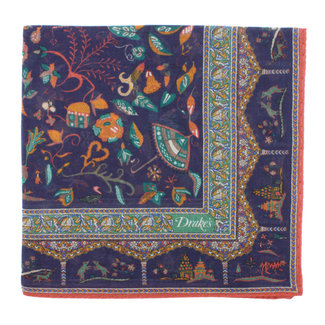 Drake's Pochet Navy Mughal Print