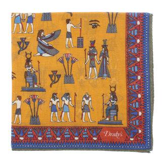 Drake's Pocket Square Gold Egyptian Print