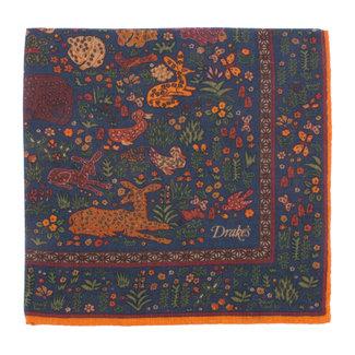 Drake's Einstecktuch Dunkelblau Dschungeltiere Print