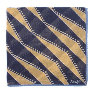 Drake's Pocket Square Navy Geometric Stripe