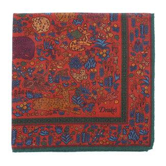 Drake's Einstecktuch Rot Dschungeltiere Print